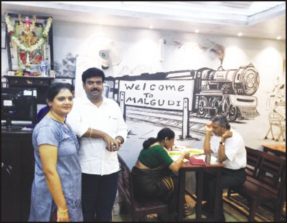 The couple at the welcome place are owners Nagaraj Gopal and wife Poornima.