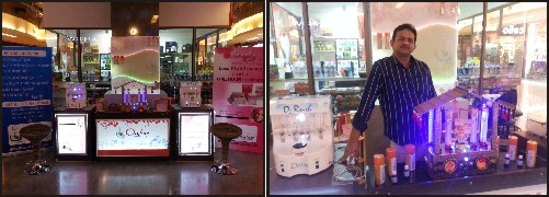 (Left)  Oxybar at Mall of Mysore. ( Right) Dr. Srikanth seen with a Oxygen dispensing machine.
