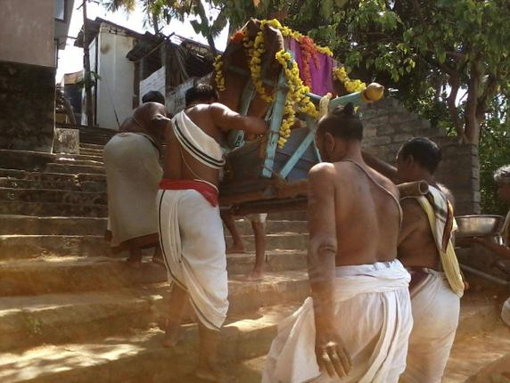 Lord Chennakesava being taken on the Pallakku after the river bath./ by Special Arrangement / The Hindu