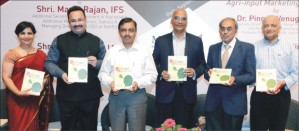 "Manoj Rajan (second from left), IFS, is seen releasing the book ""Agri-input Marketing in India"" at MYRA recently as (from left)Dr. Shalini Urs, Chairperson, MYRA School of Business, P.S. Vastrad, IAS, Commissioner, Department of Health and Family Welfare, Ram Kaundinya, Professor of Strategy, MYRA School of Business, Dr. Venugopal Pingali, Professor of Marketing, XLRI and Dr. Rajiv Sinha, Dean, MYRA School of Business, look on."