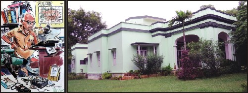 A matchless depiction of RKN by R. K. Laxman. Picture right shows Former residence of R.K. Narayan at # 963, III Main, Lakshmipuram, Mysore.