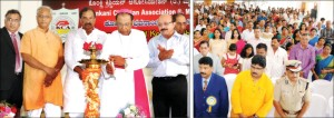 Bishop of Mysuru Rev. Fr. Dr. Thomas Antony Vazhapilly is seen lighting the lamp to inaugurate Konkan Bhavan in city this morning as Valerian Fernandes of Fernandes Transport, Bengaluru; Mangaluru MLA J. R. Lobo; Home Minister K. J. George and Managing Partner of Mangalore Ganesh Beedi Works Jagannath Shenoi look on. Picture right shows a section of audience.