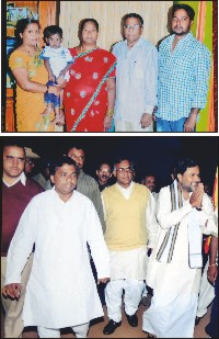 Top : Narayan with wife Jayamma, son Jayaramu, daughter-in-law Shwetha (extreme left) and grandson Amith. Below : Narayan (extreme left) with his political mentor Siddharamaiah.