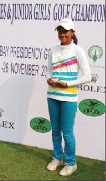 Pranavi S. Urs winner of the 'Category 'C' title in the IGU Western India Ladies & Junior Girls Amateur Golf Tournament seen with her trophy.