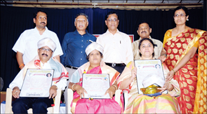 RSN Memorial Awardees - Music Director A.S. Prasanna Kumar, Sugama Sangeetha singer G. Pushpalatha and Composer Sunitha Chandrakumar - are seen with the guests and organisers.