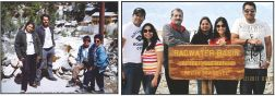 Picture shows Yoganand and Shyla Yoganand posing with their sons Manu and Prithivi during their visit to Surya Kund in Gangotri in 1993. Picture right shows Yoganand's family during their visit to Death Valley in California (2011) — (From left) Prithvi, his wife Seema, Yoganand, Shyla Yoganand, Nishita and her husband Manu.