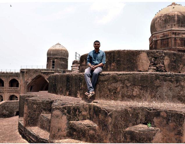 Vishal Vasmate, a student of aerospace programme at University of Southern California, in Bidar. —Photo: Gopichand T.