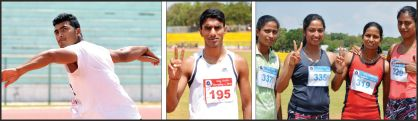 ( Picture right shows ) Keerthi Kumar of Belagavi who created a new meet record in Discus Throw attempting his final throw at the Chamundi Vihar Stadium. (Centre) K.A. Bharath of Bengaluru City sporting victory sign after creating a new meet record in the men's 1,500 meter run. ( Picture in extreme left shows ) the Bengaluru 4x100 meters women's team sporting victory symbol after creating a new meet record in 4xx100 meters relay.