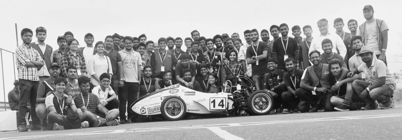 Students of RV College of Engineering with their car