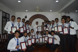 The team of students from SDM Institute of Technology, Ujire, receiving the Guinness certificate at Dharmasthala recently.
