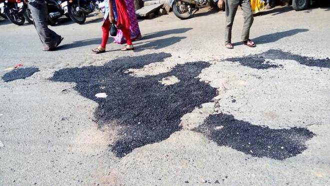 'Pothole Raja' claims to have filled over 200 potholes in less than a year.   | Photo Credit: E mail