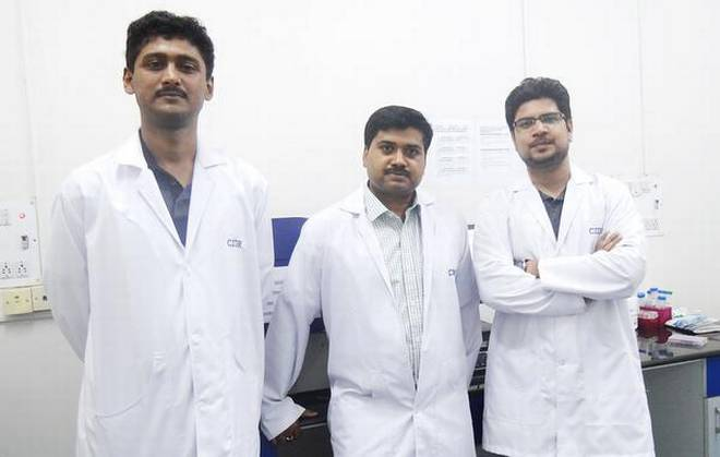 Make them vulnerable: (From left) Dr. Saurabh Mishra, Dr. Amit Singh, Prashant Shukla and Dr Harinath have been able to reverse antibiotic resistance in E. coli.