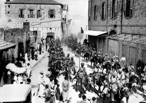 The Mysore Lancers march at Haifa, a port city in Israel, on Sept 23, 1918.   | Photo Credit: from the collection of Mr. Raja