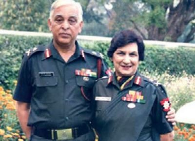 Major General (retd) NK Manchanda with his late wife Anju, whose autobiography was recently completed