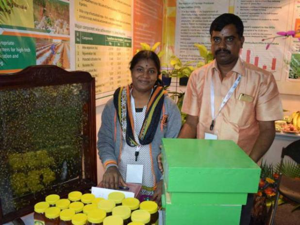 Raju and Geetha at their stall in an exhibition. The stall displays various aspects of beekeeping. photo by author.