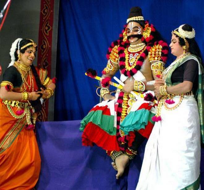 With every Yakshagana performance, multiple versions of Ramayana are created on the stage. | Photo Credit: File Photo.