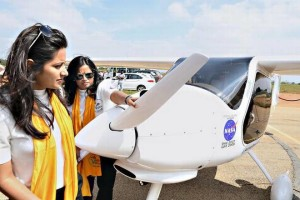 Flying high: Captain Audrey Deepika Maben and her daughter Amy Mehta with their aircraft at the Jakkur Aerodrome in Bengaluru on Wednesday.