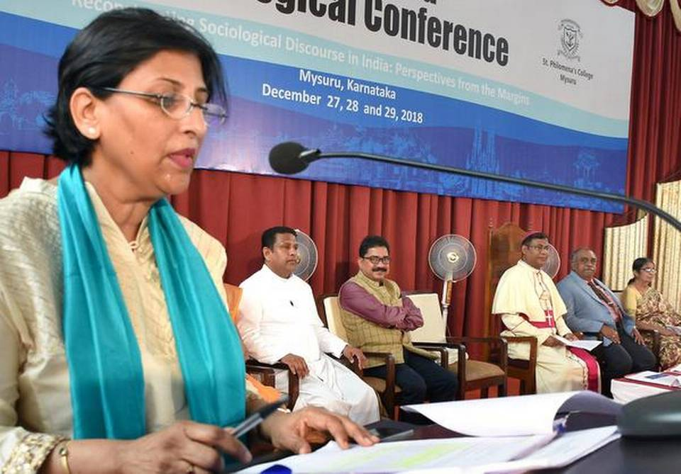 Sociology expert Margaret Abraham speaking at the 44th All-India Sociological Conference in Mysuru on Thursday. | Photo Credit: M.A. SRIRAM